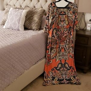 Coral printed Maxi Dress with Quarter sleeve